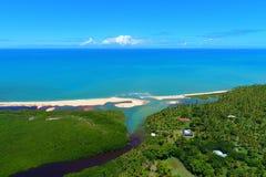 Aerial view of Cumuruxatiba beach, Prado, Bahia, Brazil. Drone view of Cahy bar in Cumuruxatiba beach, Prado, Bahia, Brazil royalty free stock photography