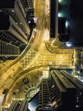 Drone view of cross way in the city at night stock images