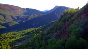 Drone view of Castellane valley. In he french Alps at sunset stock footage