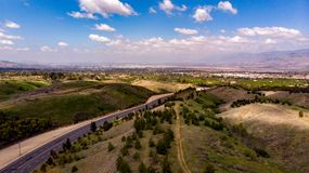 Drone View Of Chapman Hills Looking Towards the San Gabriel Valley. Drone view of Chapman Hills, Yucaipa looking towards the San Gabriel Valley and the San royalty free stock photography