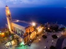 Drone view of church at night stock photo