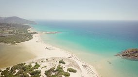 Drone view of a cove in Sardinia. Summer vacation stock footage