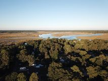 Drone view of creeks and trees stock photography