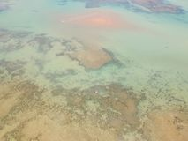 Drone view of Cumuruxatiba, Bahia, Brazil. Beautiful aerial drone view of Cumuruxatiba, Bahia, Brazil stock photography