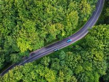 Drone view of a curved road in Transylvania, Romania stock photo