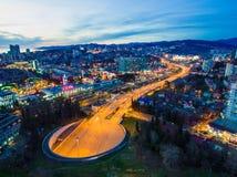 Drone view of Doubler of Kurortnyy Prospekt highway, Sochi, Russ Stock Photos