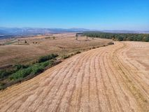 Drone view of a field in autumn royalty free stock photography