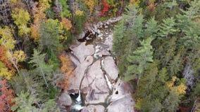 Aerial Franconia Falls trail in Autumn