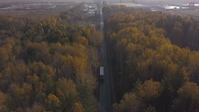 Drone view freight truck moving on car highway on background autumn forest. Truck car with freight container driving on suburban road through autumn forest stock video
