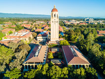 Drone view of Hoover Tower of Stanford University. Palo Alto, CA USA May 20, 2017: Aerial veiw of Hoover Tower of Stanford University royalty free stock images