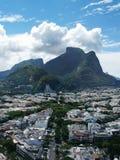 Drone view of Jardim Oceanico region in Barra da Tijuca,Gavea Stone hill, Rio de Janeiro. Drone photo of Barra da Tijuca boardwalk and Lucio Costa street, Rio de stock photography