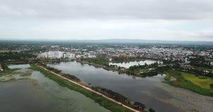 Drone view 4K Nong Han Lake Sakon Nakhon Thailand stock footage