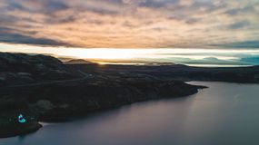 Drone view of lake during sunset in iceland stock photo