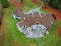 Drone view of a luxurious stone wedding venue royalty free stock image