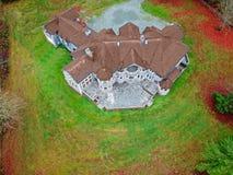 Drone view of a luxurious stone wedding venue stock photos