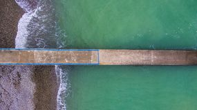 Drone view of mole in sea Royalty Free Stock Photos