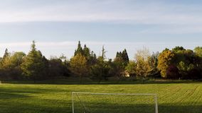Drone View Moving Towards And Above Empty Soccer Net stock video