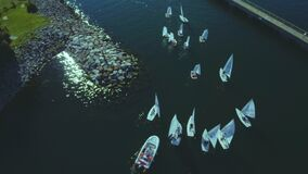 Aerial view of multiple boats preparing for Fall Cork contest