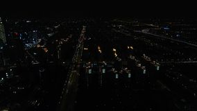 Aerial over night city. Drone view of night city stock footage