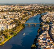 Drone view of old downtown Sevilla at sunset stock photo