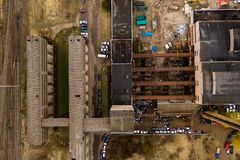 Drone view of old factory stock photos
