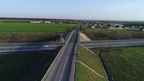 Drone view over the highway, 50fps, 6 video scenes stock video