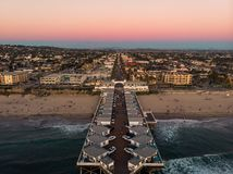 Drone view of Pacific beach in San Diego stock photos