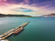 Drone view of the pier in the bay royalty free stock photo