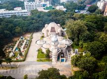 Aerial View of city Bangalore in India. Drone View of planetarium in Bangalore India royalty free stock image