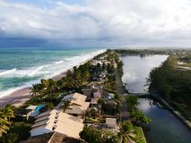Drone view of Praia de Interlagos, Bahia, Brazil. Beautiful aerial drone view of Praia de Interlagos, Bahia, Brazil stock images