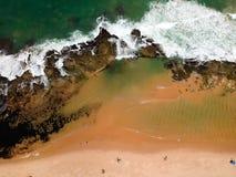 Drone view of Praia de Interlagos, Bahia, Brazil. Beautiful aerial drone view of Praia de Interlagos, Bahia, Brazil stock photo