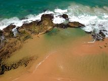 Drone view of Praia de Interlagos, Bahia, Brazil. Beautiful aerial drone view of Praia de Interlagos, Bahia, Brazil stock photos