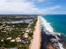 Drone view of Praia de Interlagos, Bahia, Brazil. Beautiful aerial drone view of Praia de Interlagos, Bahia, Brazil royalty free stock image