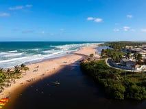 Drone view of Praia do Imbassai, Bahia, Brazil. Beautiful aerial drone view of Praia do Imbassai, Bahia, Brazil stock photos