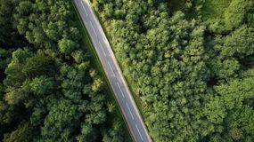 Drone view of road through forest stock images