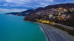 Drone view of seaside of Sochi city, Russia royalty free stock photos