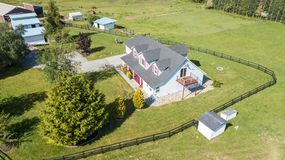 Drone view of single family house stock photography