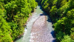 Drone view of Sochi River, Russia Royalty Free Stock Photography