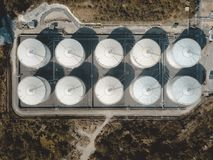 Drone view of storage tank in the forest stock images