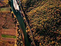 Drone view stunning colorful autumn fall forest at sunset Royalty Free Stock Photos