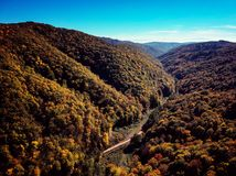 Drone view of stunning colorful autumn fall forest at sunset Stock Photography