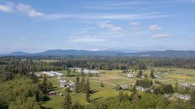 Drone view of Suburban farm Homes. royalty free stock photos