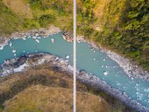 Drone view of suspension bridge in Nepal Royalty Free Stock Photography
