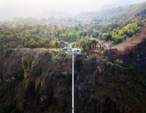Drone view of suspension bridge in Nepal Royalty Free Stock Photos