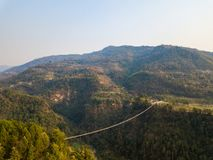 Drone view of suspension bridge in Nepal Stock Images