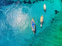 Drone view to the Aegean sea. And the boats on it in city of Bodrum in Turkey royalty free stock photography