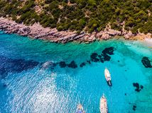 Drone view to the Aegean sea. And the boats on it in city of Bodrum in Turkey royalty free stock images