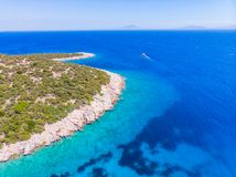 Drone view to the Aegean sea. And the boats on it in city of Bodrum in Turkey royalty free stock photo