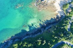 Drone view Top view landscape nature scenery view of Beautiful tropical sea with Sea coast view in summer season image by Aerial. View drone shot royalty free stock image