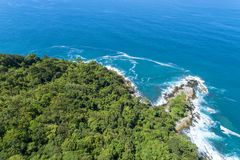 Drone view Top view landscape nature scenery view of Beautiful tropical sea with Sea coast view in summer season image by Aerial. View drone shot stock photography